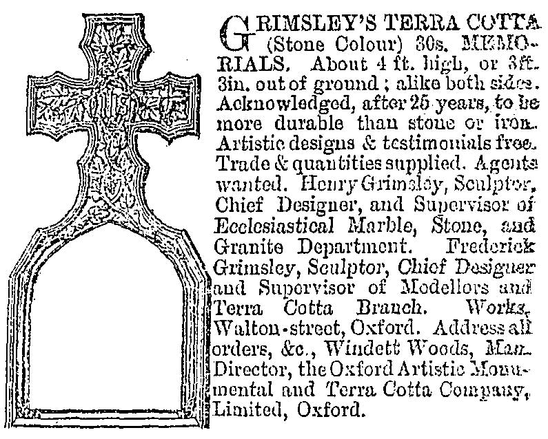 Grimsley advert, 10 October 1885