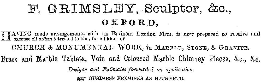 Grimsley advert 1880