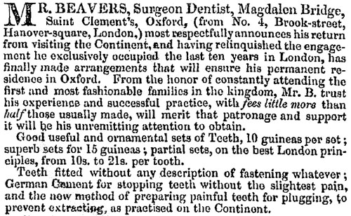 Bevers' first advertisement, 1837